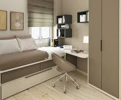 Laminated Wooden Floor Small Bedroom Interior Design Grey Bedding Black Drawer Cabinet