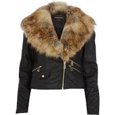 river island black faux fur collar biker jacket in black for men