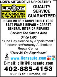 Upholstery Omaha Ne Lion U0027s Automotive Upholstery Omaha Ne 68127 1609 Yellowbook