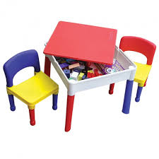 2 In 1 Activity Table Kids Sqaure 2 In 1 Construction Lego Play Storage Table And Chairs
