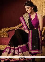 Buy Violet Embroidered Art Silk Serene Black Art Silk Sequins Work Saree