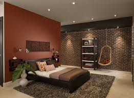 bedroom interesting bedroom design with faux brick panels and