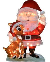 deal on productworks 32 inch pre lit santa and rudolph