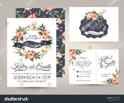 Invitation Card With Rsvp Wedding Invitation Card Suite Daisy Flower Stock Vector 223110889