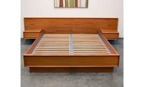 Floating Nightstand With Drawer Danish Teak Queen Platform Bed With Floating Nightstands Sold