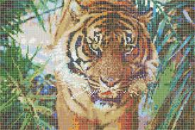 Sumatran Tiger Framed Mosaic Wall Art - Wall mosaic designs