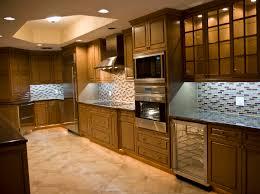 wine kitchen cabinet appliances mozaic tile backsplash with varnished wooden kitchen