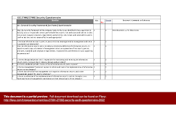 iso 27001 27002 security audit questionnaire excel
