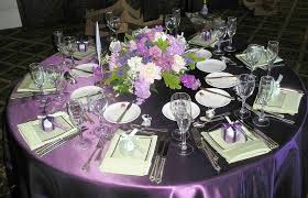 Pretty Tables by Round Table With Purple Tablecloth Combined By White Purple Flower