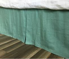 moss green linen bed skirt with tailored pleats u2013