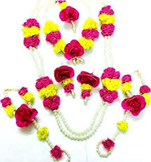 flower jewellery floret jewelry golden flower jewellery set with necklace
