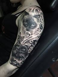 3d black and white cats with ornament half sleeve