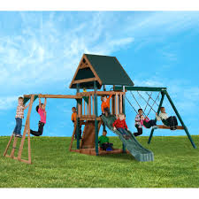 mongoose manor play set with monkey bars sandbox u0026 slide