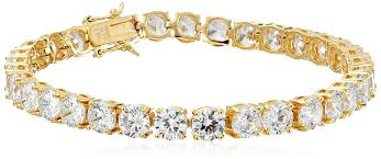 yellow gold bracelet with diamonds images 18k yellow gold plated silver round cut 6mm cubic jpg