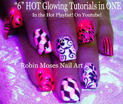 robin moses nail art neon pink with white butterfly nail art