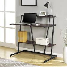 cherry and black small computer desk with shelf magnifier