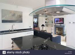 glass u0026 chrome extractor fan in modern openplan kitchen and living