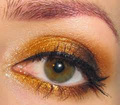 glitter is my golden orange fall eye makeup look