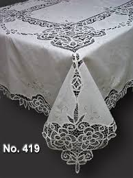Buy Table Linens Cheap - cotton hand embroidery with battenburg lace oblong tablecloth