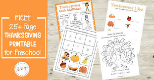 thanksgiving preschool printable learning activities