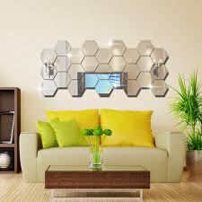 93 best office design yoyo honana dx y5 12pcs silver diy sexangle mirror wall stickers