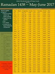 ramadan timetable and flyer iecoc islamic educational center