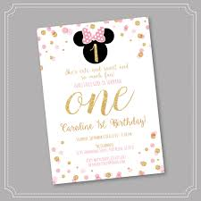 Minnie Mouse Invitation Card 20 Off Pink And Gold Minnie Mouse Birthday Party Invitation