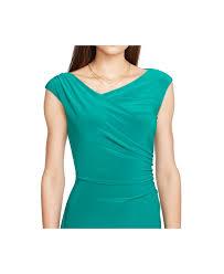 lauren by ralph lauren asymetrical sheath dress in green lyst