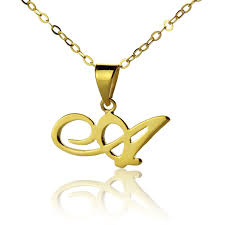 gold letters necklace images Personalized initial letter necklace 18k gold plated jpg