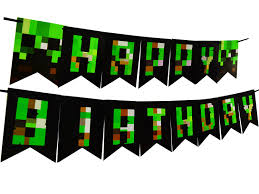 International Bunting Flags Happy Birthday Minecraft Pixel World Party Banner Bunting Flags
