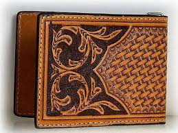 nocona mens western leather money clip credit card holder tooled brown