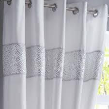 White And Grey Curtains Shimmer White Fully Lined Eyelet Ready Made Curtains