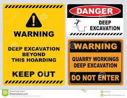 deep excavation sign stock illustration image 54653873