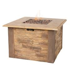 Lp Gas Firepit Uniflame Faux 36 In X 36 In Stacked Propane Gas Pit