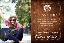 rustic wood grain collage thank you card graduation thank you cards