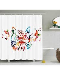 Animal Shower Curtains Shower Curtain Abstract Birds Owl Print For Bathroom