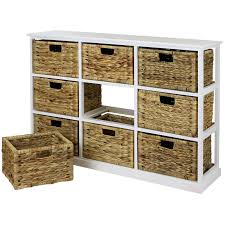 9 basket storage unit wooden storage shelf with wicker baskets