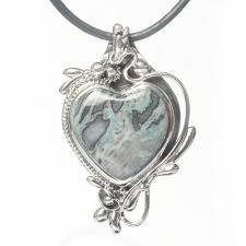 black heart necklace pendant images Silver heart necklace pendant with jasper jpg