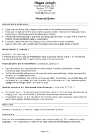 Resume Photo Editor Resume Sample For A Financial Editor Susan Ireland Resumes