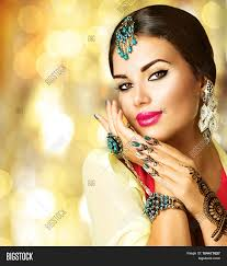 black girl earrings beautiful fashion indian woman image photo bigstock