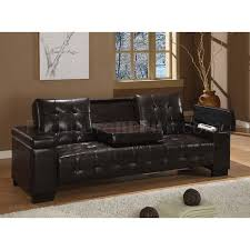 brown vinyl sofa bed w pull down table