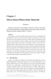 silicon based photovoltaic materials springer