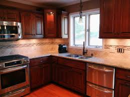Kitchen Backsplash Examples Interesting Kitchen Backsplash Cherry Cabinets Black Counter