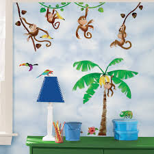 Wallpaper For Kids Room Wall In A Box Wib1024 Monkey Business Wallpaper Brown Green