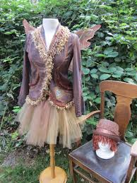 Fawn Fairy Halloween Costume Upcycled Steampunk Clothing Copper Fairy Costume Victorian Pixie