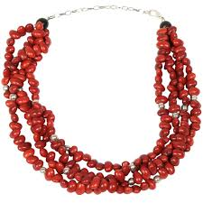 seed necklace images Red seed and silver pearl spacer necklace from colombia fair jpg