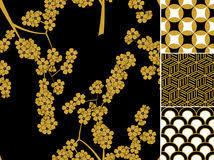 japanese traditional ornaments set stock illustration image