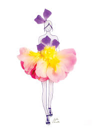real petals fashion illustrations with real flower petals as clothing made