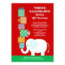 white elephant gift exchange invitations christmas holiday party