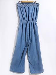 strapless denim jumpsuit 173891903 s stylish strapless denim jumpsuit blue material